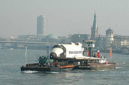 Buran Space Shuttle Floats Along the Rhine