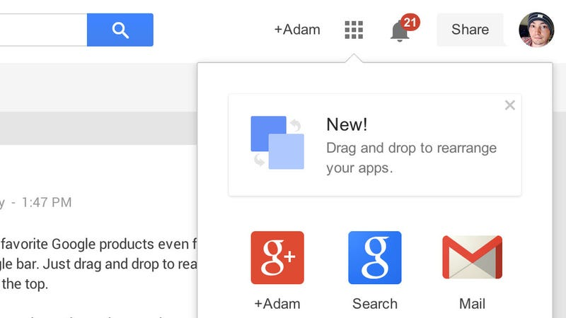 Customize Your Google Shortcuts Bar Through Drag and Drop