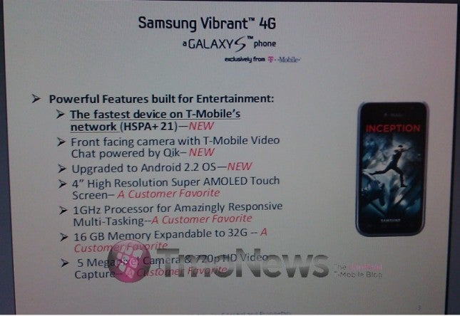 T-Mobile Looks to be Getting a Samsung Vibrant 4G With 21Mbps HSPA+