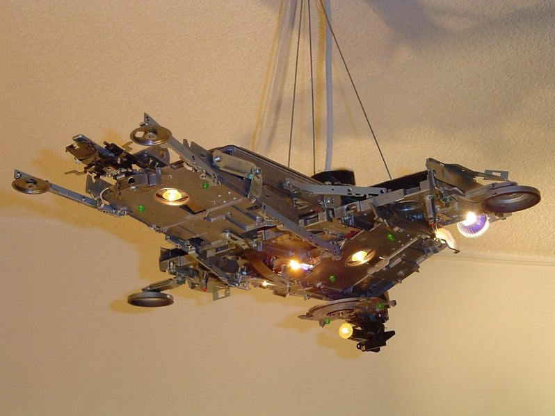 Spaceship Lamp Made of Recycled Computers