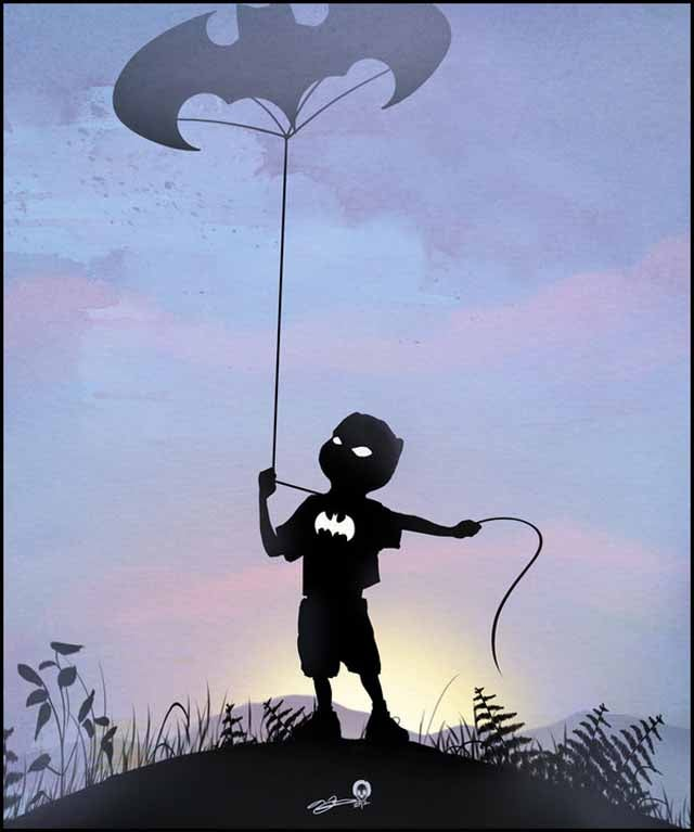 Beautiful superhero silhouettes show comic book characters at recess