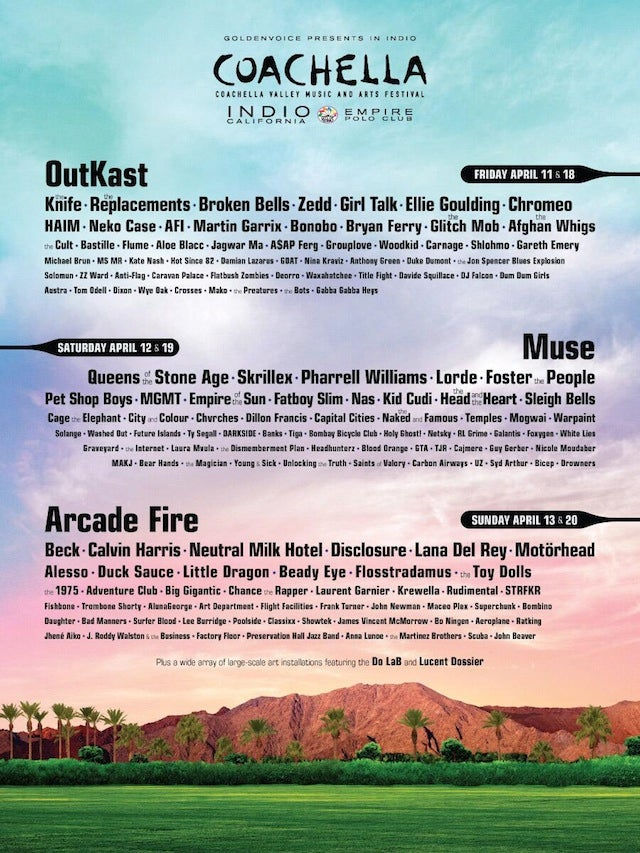 Coachella Lineup Announced: OutKast, Arcade Fire, and Muse to Headline