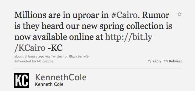 Internet Outraged Over Kenneth Cole Tweet