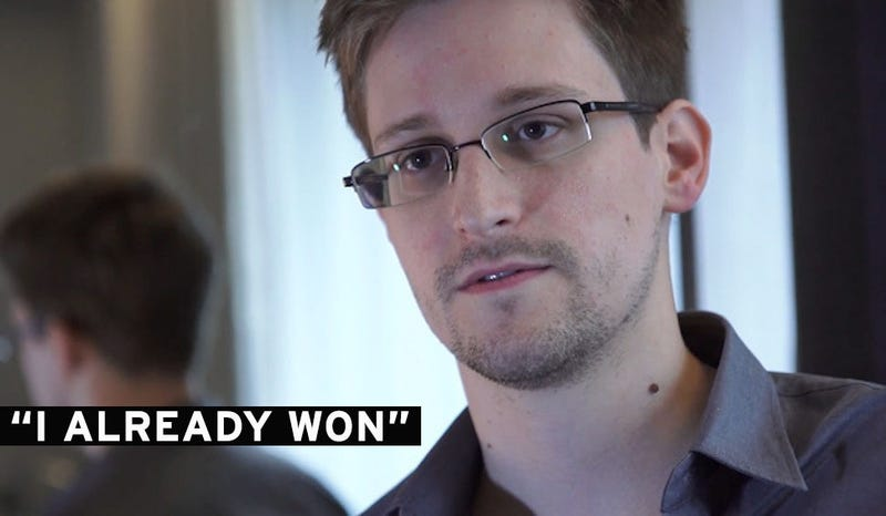 Edward Snowden Says His Mission Is Accomplished