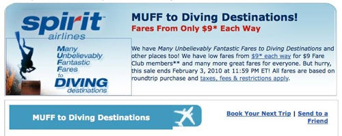 "Spirit Airlines' ""MUFF To Diving Destinations"""