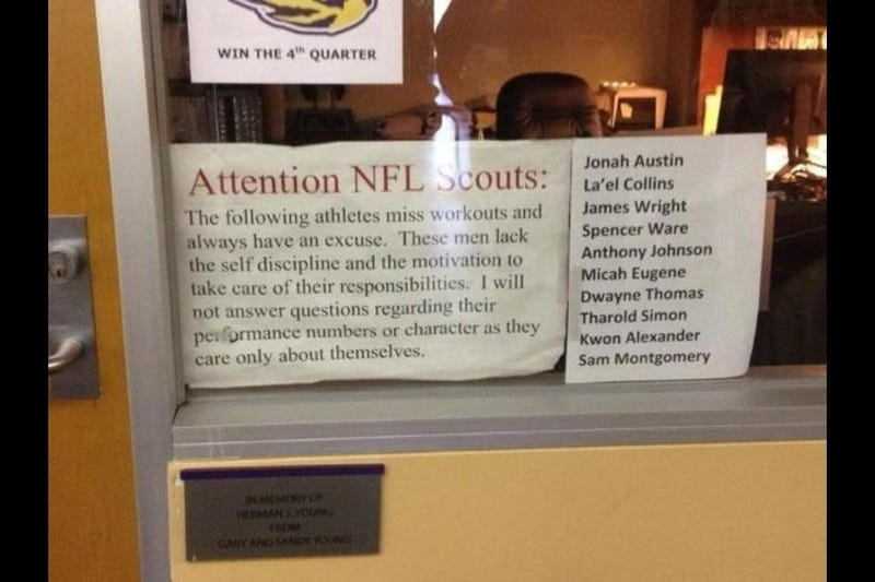 Here's The Bitchy Sign An LSU Strength And Conditioning Coach Used To Embarrass Motivate His Players