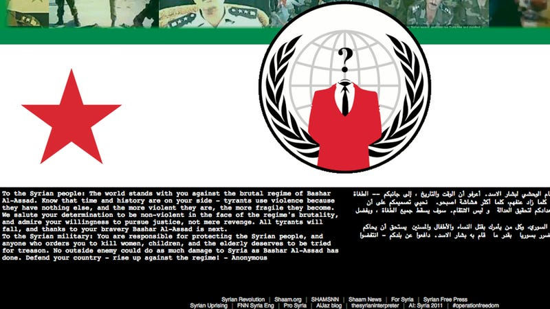 Anonymous Hacks Brutal Syrian Military