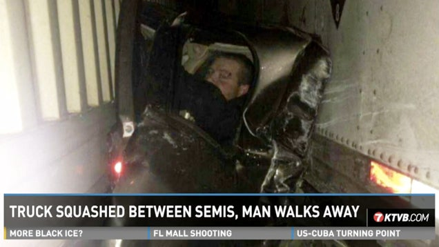 Man Finds Cozy Spot Between Semis to Wait Out 26-Car Pileup