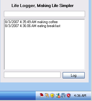 Log your workday from the system tray with Life Logger