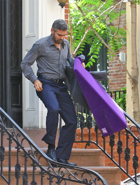 """George Clooney Steps Out With Purple """"Liberator"""" Sex Ramp"""