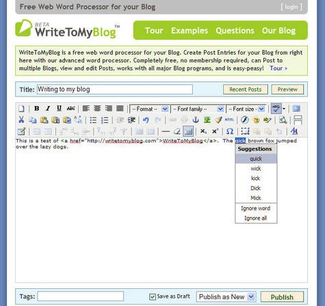 WriteToMyBlog web-based post editor