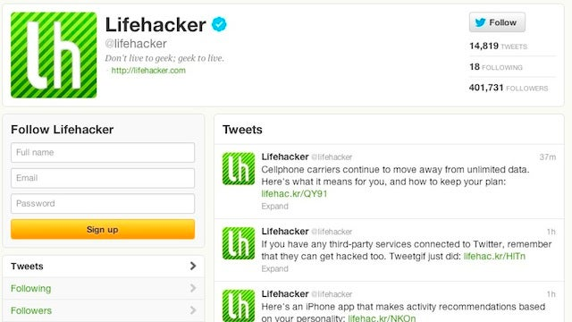 Follow Lifehacker on Twitter for Our Stories As They Go Live, Our Writers for Added Hilarity