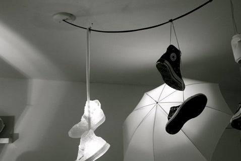 Shoe Chandelier Marks Your Suburban Gang Territory