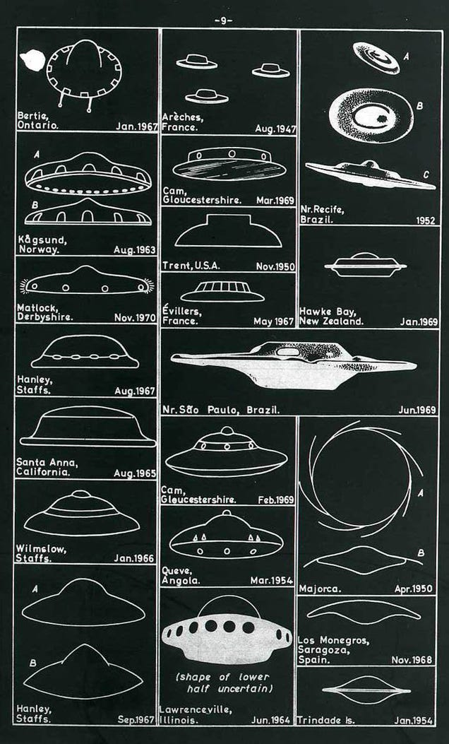 A Vintage Chart Of UFO Sightings From Around The World