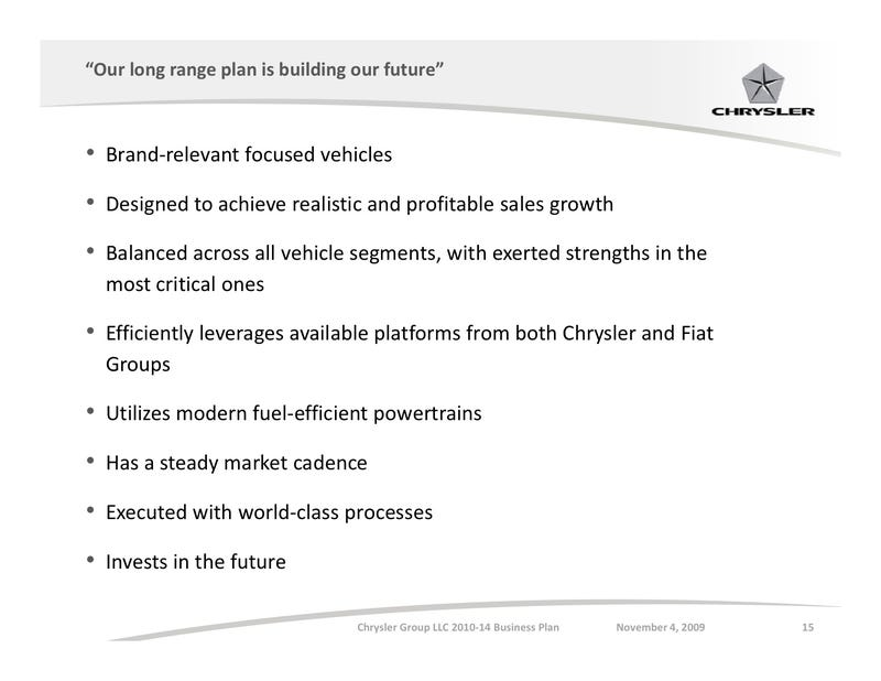 Chrysler's Complete Product Plan