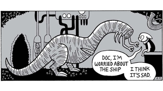 Saturday Webcomic: Mother Ship Blues chronicles the last days of a living spaceship on the brink of death