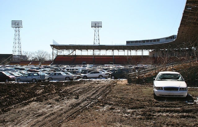 The Baseball Stadium Turned Clunker Graveyard
