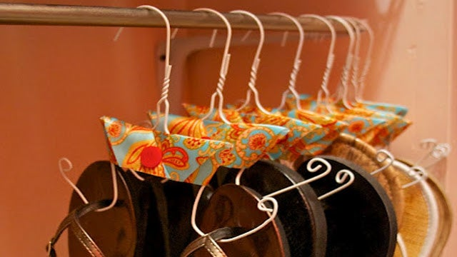 Repurpose a Coat Hanger as a Flip-Flop Hanger