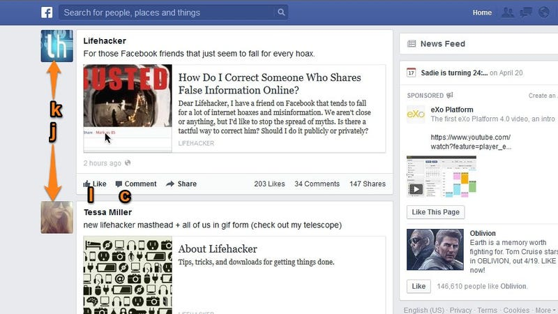 Navigate Your Facebook News Feed with These Four Shortcuts