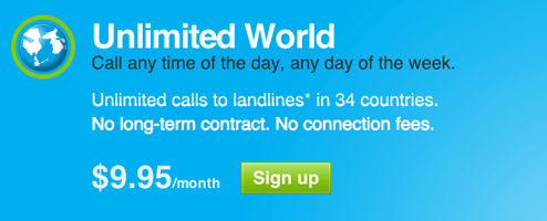 Unlimited International Skyping For $9.95 a Month From the US/Canada to 34 Countries
