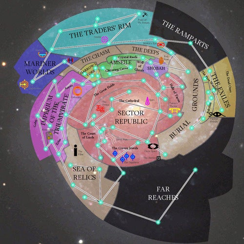 A Map Of The Cathedral Galaxy, Including Ancient Alien Artifacts