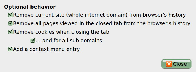 Close'n Forget Removes Browser Tracks of the Site You're On