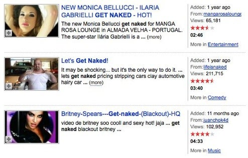 "Pity the poor 13-year who clicked on this ""Let's Get Naked"" video"
