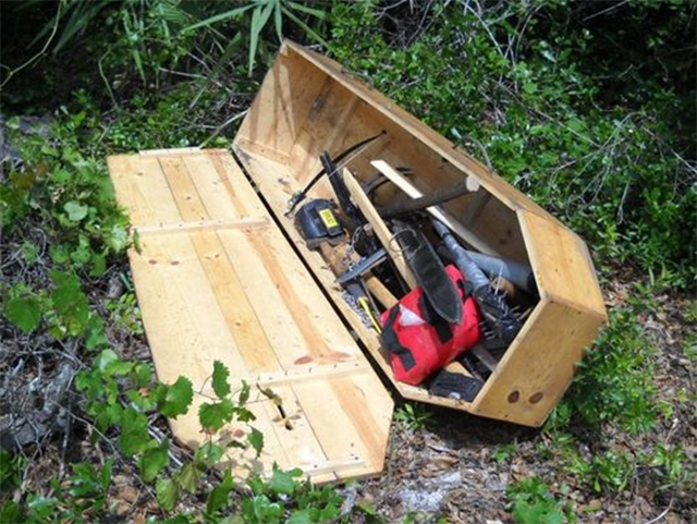 Some Psycho Forgot His Coffin Full of Weird Weapons in a Florida Park