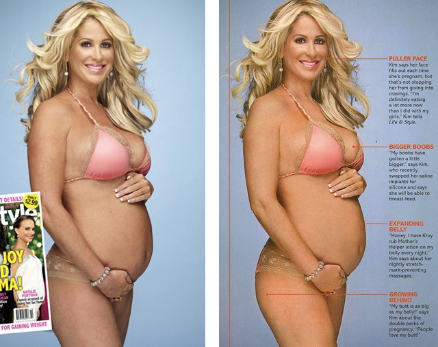 Kim Zolciak Before & After Pregnant Underwear Pics, Before & After Photoshop