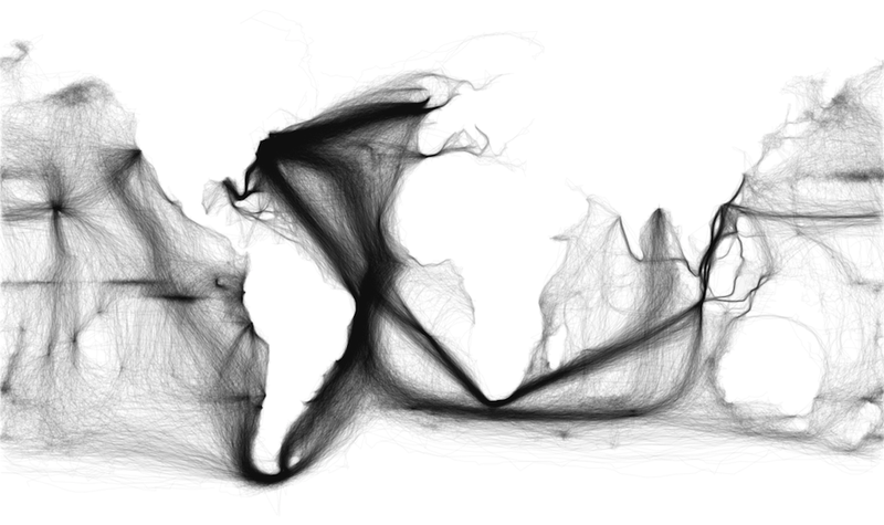Beautiful map outlines the world with just 19th century ship patterns