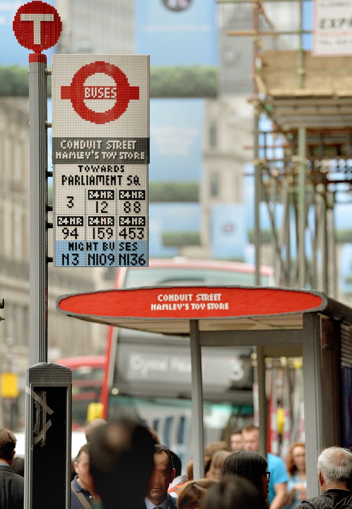 This London bus stop is made entirely from 100,000 Lego bricks