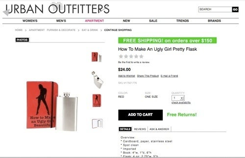 """Urban Outfitters Keeps It Classy With """"How To Make An Ugly Girl Pretty"""" Flask"""