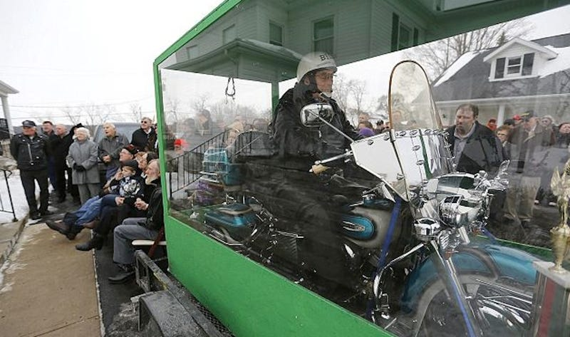 Dead Biker Buried Riding Harley in Giant Transparent Casket