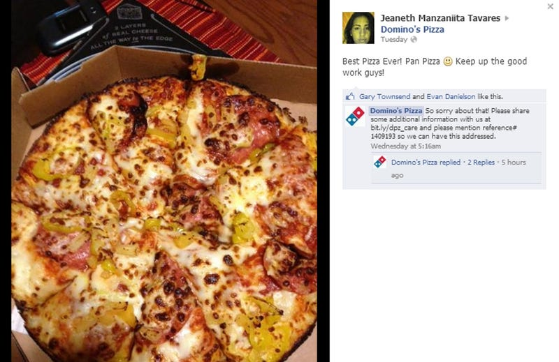 Domino's Dumbfounded by Customer's Compliment, Responds with Apology