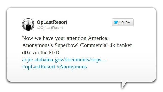 Anonymous filtra información personal de más de 4.000 banqueros en EE.UU.