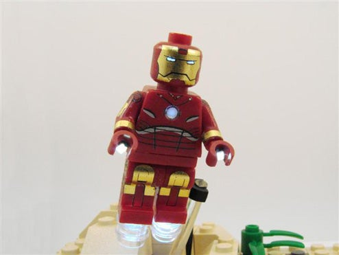 LED LEGO Iron Man Minifig Explodes With Boozy Charm, RPG Rounds