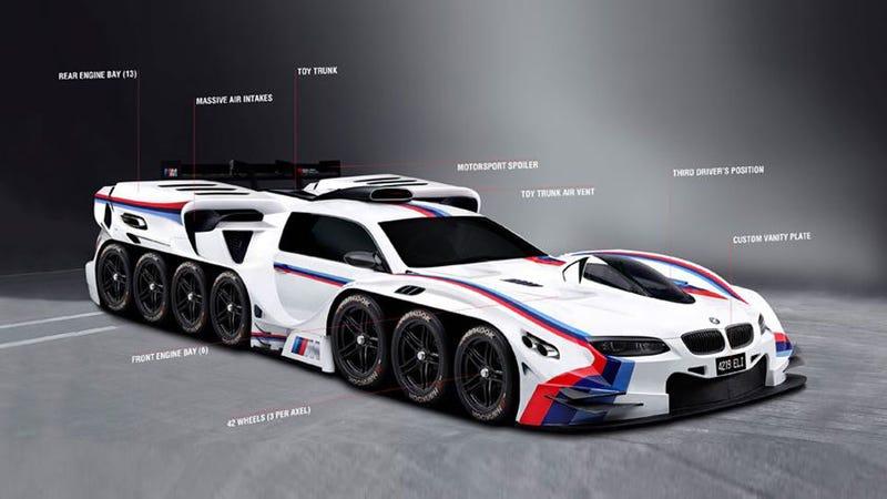 BMW Designs A 42-Wheel, 19-Engine Car To Fulfill One Child's Fantasy