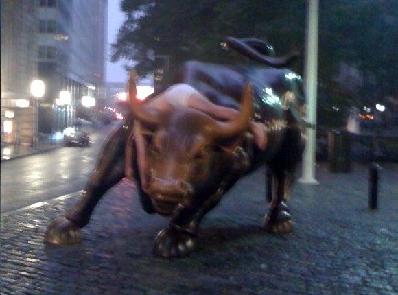 Drunken Man-Beast Collapses on Wall Street