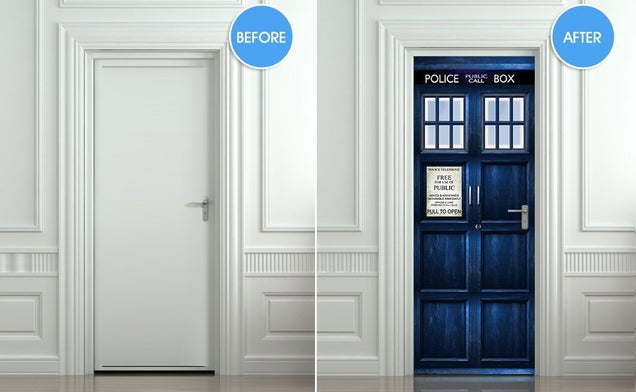 We'd be willing to wage a Time War to get this TARDIS door sticker