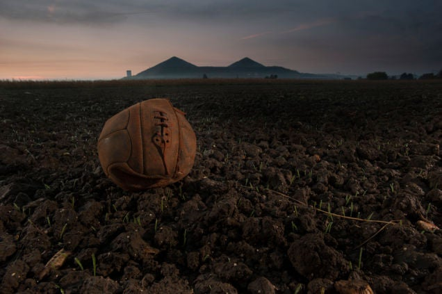 Old Soccer Ball From WWI Battle, Photographed On The Same Field Today