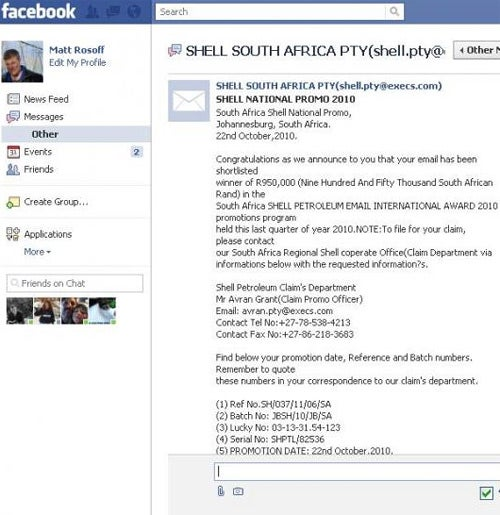 Scam Email Comes To Facebook