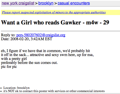 """""""Want a Girl who reads Gawker - m4w - 29"""""""