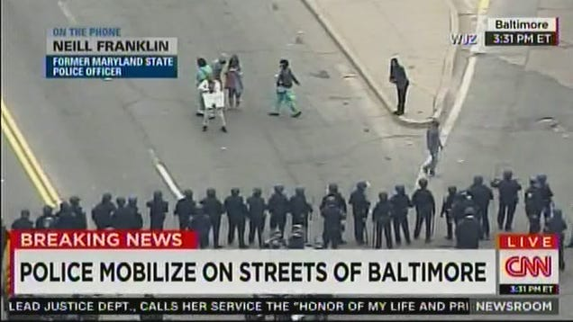 Dancing Protestor Moons Baltimore Riot Cops Live on CNN