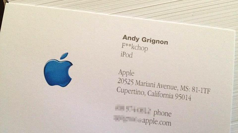 How steve jobs caused the funniest and weirdest apple for Steve jobs business card