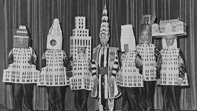 Nothing to see here, just a bunch of architects dressed as the buildings they designed