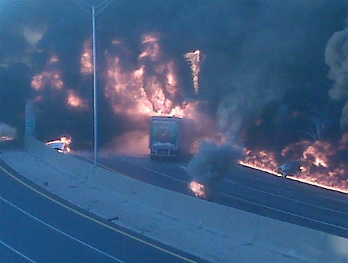 I-75 Tanker Explosion Collapses Nine Mile Rd Overpass In Metro Detroit