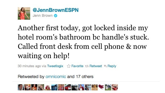 BREAKING: ESPN's Jenn Brown Is Locked Inside A Hotel Bathroom And Is Live-Tweeting About It (UPDATED)
