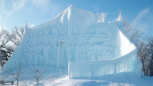 A Man Made an Ice Castle Bigger Than His House