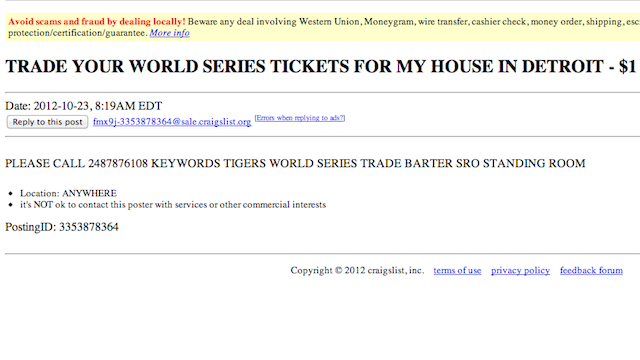 Someone In Detroit Wants To Trade His House For World Series Tickets
