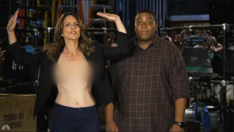 Tina Fey Pokes Fun at Her Emmys Nip Slip in SNL Season Premiere Promos